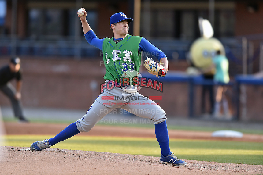 Lexington Legends starting pitcher Nolan Watson (33) delivers a pitch during a game against the Asheville Tourists at McCormick Field on April 20, 2016 in Asheville, North Carolina. The Tourists defeated the Legends 10-0. (Tony Farlow/Four Seam Images)