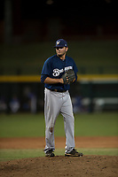 AZL Brewers relief pitcher Michael Mediavilla (25) prepares to deliver a pitch during an Arizona League game against the AZL Cubs 1 at Sloan Park on June 29, 2018 in Mesa, Arizona. The AZL Cubs 1 defeated the AZL Brewers 7-1. (Zachary Lucy/Four Seam Images)