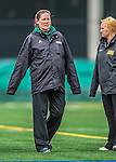 25 April 2015: University of Vermont Catamount Head Coach Jen Johnson walks the sidelines during game action against the University of New Hampshire Wildcats at Virtue Field in Burlington, Vermont. The Lady Catamounts defeated the Lady Wildcats 12-10 in the final game of the season, advancing to the America East playoffs. Mandatory Credit: Ed Wolfstein Photo *** RAW (NEF) Image File Available ***