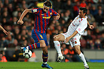 Football Season 2009-2010. Barcelona's player Zlatan Ibrahimovic and Mallorca's player Marti during the Spanish first division soccer match at Camp Nou stadium in Barcelona November 07, 2009.