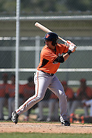 Baltimore Orioles Alejandro Juvier  (1) during a minor league spring training game against the Boston Red Sox on March 20, 2015 at the Buck O'Neil Complex in Sarasota, Florida.  (Mike Janes/Four Seam Images)