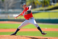 Atlanta Braves pitcher Ryne Harper #86 during a minor league Spring Training game against the Baltimore Orioles at Al Lang Field on March 13, 2013 in St. Petersburg, Florida.  (Mike Janes/Four Seam Images)