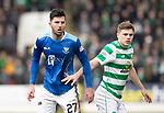 St Johnstone v Celtic…03.02.19…   McDiarmid Park    SPFL<br />Sean Goss and James Forrest<br />Picture by Graeme Hart. <br />Copyright Perthshire Picture Agency<br />Tel: 01738 623350  Mobile: 07990 594431