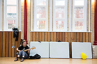 08 APR 2016 - STOWMARKET, GBR - Krista Lynch from Superglu warms up before the bands sound check for a recording for BBC Introducing at the John Peel Centre for Creative Arts in Stowmarket, Suffolk, Great Britain (PHOTO COPYRIGHT © 2016 NIGEL FARROW, ALL RIGHTS RESERVED)