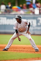 Jackson Generals outfielder Gabby Guerrero (27) leads off first during a game against the Montgomery Biscuits on April 29, 2015 at Riverwalk Stadium in Montgomery, Alabama.  Jackson defeated Montgomery 4-3.  (Mike Janes/Four Seam Images)
