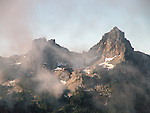 opposite Mt. Rainier, these mountains are<br /> ofen shrouded in mist and clouds