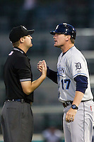 West Michigan Whitecaps Manager Andrew Graham (17) argues with umpire Ryan Wilhelms in the 8th inning of the game against the Fort Wayne TinCaps on May 23, 2016 at Parkview Field in Fort Wayne, Indiana. The TinCaps defeated the Whitecaps 3-0. (Andrew Woolley/Four Seam Images)