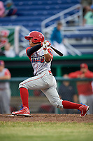 Williamsport Crosscutters second baseman Jesus Azuaje (3) follows through on a swing during a game against the Batavia Muckdogs on June 22, 2018 at Dwyer Stadium in Batavia, New York.  Williamsport defeated Batavia 9-7.  (Mike Janes/Four Seam Images)