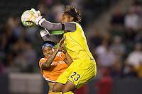 LA Sol' s goalkeeper Karina LeBlanc collides with Sky Blue's Natasha Kai saving a goal. The LA Sol defeated Sky Blue FC 1-0 at Home Depot Center stadium in Carson, California on Friday May 15, 2009.   .