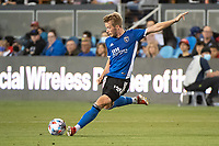 SAN JOSE, CA - AUGUST 17: Jackson Yueill #14 of the San Jose Earthquakes passes the ball during a game between San Jose Earthquakes and Minnesota United FC at PayPal Park on August 17, 2021 in San Jose, California.