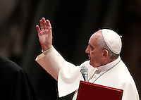 Papa Francesco rivolge il suo saluto al termine della messa per gli sportivi in occasione del 100esimo anniversario del CONI, nella Basilica di San Pietro, Citta' del Vaticano, 19 dicembre 2014.<br /> Pope Francis speaks at the end of a mass for the Italian Olympic Committee (CONI) 100th anniversary in St. Peter's Basilica at the Vatican, 19 December 2014.<br /> UPDATE IMAGES PRESS/Isabella Bonotto<br /> <br /> STRICTLY ONLY FOR EDITORIAL USE