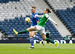 St Johnstone v Hibs…22.05.21  Scottish Cup Final Hampden Park<br />Jason Kerr is closed down by Jackson Irvine<br />Picture by Graeme Hart.<br />Copyright Perthshire Picture Agency<br />Tel: 01738 623350  Mobile: 07990 594431