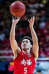 Lo Yi Ting #5 of SCAA Men's Basketball Team concentrates prior to a free throw during the Hong Kong Basketball League playoff game between SCAA and Eastern Long Lions at Queen Elizabeth Stadium on July 27, 2018 in Hong Kong. Photo by Yu Chun Christopher Wong / Power Sport Images