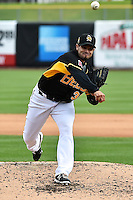 Joel Pineiro (36) of the Salt Lake Bees delivers a pitch to the plate against the Memphis Redbirds at Smith's Ballpark on June 18, 2014 in Salt Lake City, Utah.  (Stephen Smith/Four Seam Images)