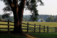 Country road with farm located in Orange County, VA. Photo/Andrew Shurtleff