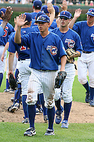 August 9, 2009:  Third Baseman Matt Camp of the Iowa Cubs with John-Ford Griffin behind after a game at Wrigley Field in Chicago, IL.  Iowa is the Pacific Coast League Triple-A affiliate of the Chicago Cubs.  Photo By Mike Janes/Four Seam Images