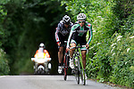 Pix: Shaun Flannery/shaunflanneryphotography.com<br /> <br /> COPYRIGHT PICTURE>>SHAUN FLANNERY>01302-570814>>07778315553>><br /> <br /> 23rd June 2013.<br /> Doncaster Wheelers Cycling Club.<br /> The Danum Trophy Road Race.<br /> Winner - Ashley Proctor of Bike BoxAlan/Whiston Velo  (green top) leads Chris Fothergill.