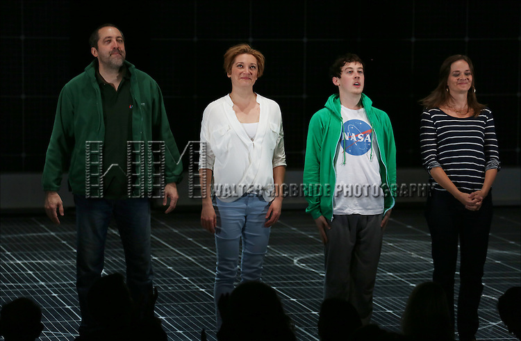 Ian Barford, Francesca Faridany, Alex Sharp and Enid Graham during the Broadway Opening Night Performance Curtain Call for 'The Curious Incident of the Dog in the Night-Time'  at the Barrymore Theatre on October 5, 2014 in New York City.