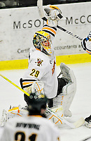 30 October 2010: University of Vermont Catamount goaltender Rob Madore, a Junior from  Pittsburgh, PA, makes a third period save against the University of Maine Black Bears at Gutterson Fieldhouse in Burlington, Vermont. The Black Bears defeated the Catamounts 3-2 in sudden death overtime. Mandatory Credit: Ed Wolfstein Photo