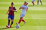 Liga IBERDROLA 2020-2021. Jornada: 12<br /> FC Barcelona vs Sevilla: 6-0.<br /> Melanie Serrano vs Claudia Pina.