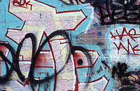AVAILABLE FROM JEFF AS A FINE ART PRINT.<br /> <br /> AVAILABLE FROM GETTY IMAGES FOR COMMERCIAL AND EDITORIAL LICENSING.  Please go to www.gettyimages.com and search for image # 200406232-001.<br /> <br /> Graffiti on a Wall in the East Village, circa late 1980's, Lower Manhattan, New York City, New York State, USA