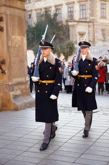 Changing the guards at Prague Castle - Czech Republic