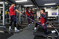 (L-R) Angel Rangel and Roque Mesa exercise in the gym during the Swansea City Training at The Fairwood Training Ground, Swansea, Wales, UK. Tuesday 05 December 2017