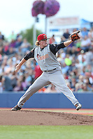 Logan Webb (32) of the Salem-Keizer Volcanoes pitches during a game against the Hillsboro Hops at Ron Tonkin Field on July 26, 2015 in Hillsboro, Oregon. Hillsboro defeated Salem-Keizer, 4-3. (Larry Goren/Four Seam Images)