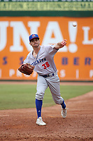 Will Gilbert (38) of the Stockton Ports throws in the bullpen during a game against the Inland Empire 66ers at San Manuel Stadium on May 26, 2019 in San Bernardino, California. (Larry Goren/Four Seam Images)