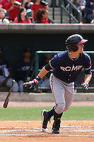 Cory Harrilchak #4 of the Rome Braves hitting during a game against the Charleston RiverDogs on April 27, 2010 in Charleston, SC.