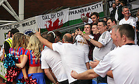 Pictured: Swansea supporters<br /> Re: Premier League match between Crystal Palace and Swansea City at Selhurst Park on Sunday 24 May 2015 in London, England, UK