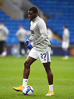 26th December 2020; Cardiff City Stadium, Cardiff, Glamorgan, Wales; English Football League Championship Football, Cardiff City versus Brentford; Sheyi Ojo of Cardiff City warms up before the game