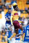 St Johnstone v Motherwell…28.09.19   McDiarmid Park   SPFL<br />Devante Cole and Liam Gordon<br />Picture by Graeme Hart.<br />Copyright Perthshire Picture Agency<br />Tel: 01738 623350  Mobile: 07990 594431