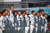 The Black Caps line up at the start of day one of the International Test Cricket match between the New Zealand Black Caps and West Indies at the Basin Reserve in Wellington, New Zealand on Friday, 11 December 2020.  Photo: Dave Lintott / lintottphoto.co.nz
