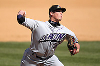 Akron Aeros pitcher Rob Bryson #39 delivers a pitch during a game against the Binghamton Mets at NYSEG Stadium on April 7, 2012 in Binghamton, New York.  Binghamton defeated Akron 2-1.  (Mike Janes/Four Seam Images)