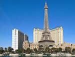 View of Paris Las Vegas and Bally's over the Bellagio lake in Las Vegas, Nevada.
