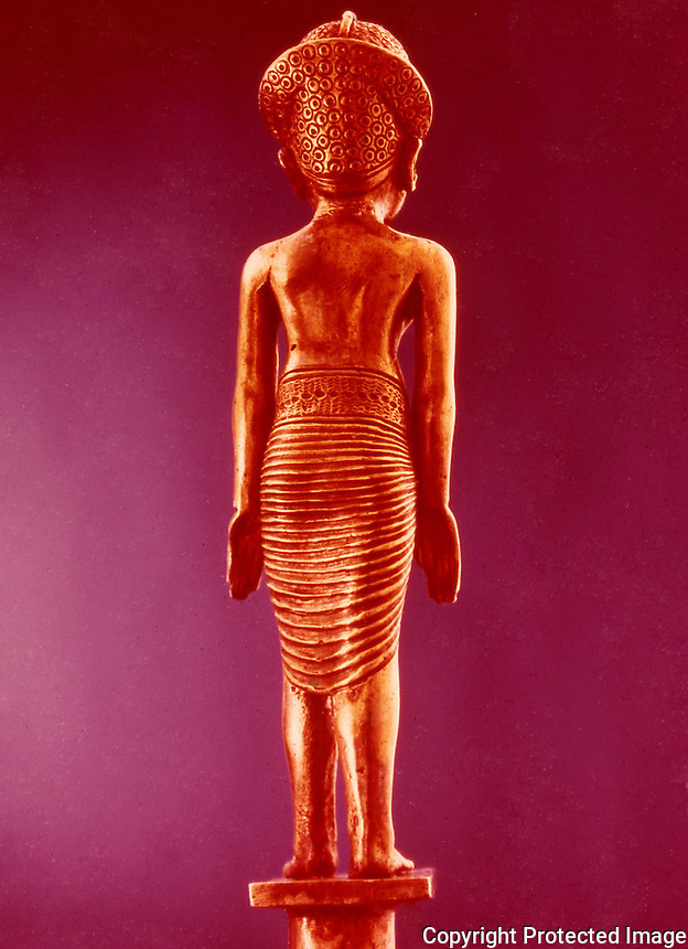 Egypt:  Gold Staff, back view--gold and silver.  Treasures of Tutankhamun, Cairo Museum.  MMA 1976.