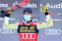 19th December 2020; Saslong, Val Gardena, Tyrol, Italy; International Ski Federation Alpine Ski World Cup, 2nd Men's Downhill, Val Gardena; Aleksander Kilde (NOR) celebrates his time after his run