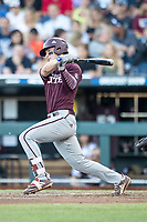 Mississippi State Bulldogs second baseman Justin Foscue (17) follows through on his swing during Game 10 of the NCAA College World Series against the Louisville Cardinals on June 20, 2019 at TD Ameritrade Park in Omaha, Nebraska. Louisville defeated Mississippi State 4-3. (Andrew Woolley/Four Seam Images)