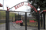 A view of the front gate of Bailey-Brayton Field, the baseball home of the Washington State Cougar baseball teams, on the campus of Washington State University in Pullman, Washington.