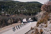 peloton 'under the bridge'<br /> <br /> 76th Paris-Nice 2018<br /> stage 6: Sisteron > Vence (198km)