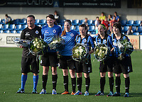 20140606 - Koksijde , BELGIUM : Brugge's T2 Karel Gobert , Sofie Huygebaert , Anne-Lore Scherrens , Chrstine Saelens , Lore Dezeure and Ingrid Derycke pictured before their last game for Brugge during the soccer match between the women teams of Club Brugge Vrouwen  and FC Twente Vrouwen  , on the 30th matchday of the BeNeleague competition on Friday 6th June 2014 in Koksijde .  PHOTO DAVID CATRY