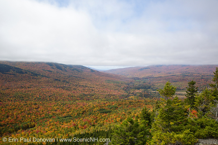 Scenic view from Pine Mountain in Gorham, New Hampshire USA on a cloudy autumn day.