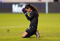 HOUSTON, TX - JANUARY 31: Sasha Fabrega #12 of Panama kneels at the end of the game during a game between Panama and USWNT at BBVA Stadium on January 31, 2020 in Houston, Texas.