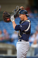Pensacola Blue Wahoos catcher Kyle Skipworth (14) during a game against the Mississippi Braves on May 27, 2015 at Trustmark Park in Pearl, Mississippi.  Pensacola defeated Mississippi 7-5 in fourteen innings.  (Mike Janes/Four Seam Images)