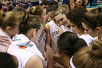 4 March 2007: Michelle Harrison, Kristen Newlin, Christy Titchenal, Jillian Harmon, Jayne Appel, Cissy Pierce, Brooke Smith and Candice Wiggins huddle during Stanford's 67-52 win over USC at the Pac-10 women's basketball tournament at HP Pavilion in San Jose, CA.