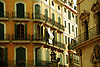 Facade with balconies, white courtains and green window shutters in Palma de Mallorca<br /> <br /> Fachadas con balcones, cortinas blancas y persianas verdes en <br /> Palma de Mallorca<br /> <br /> Fassade mit Balkonen, weißen Vorhängen und grünen Persianas in Palma de Mallorca<br /> <br /> 3600 x 2400 px