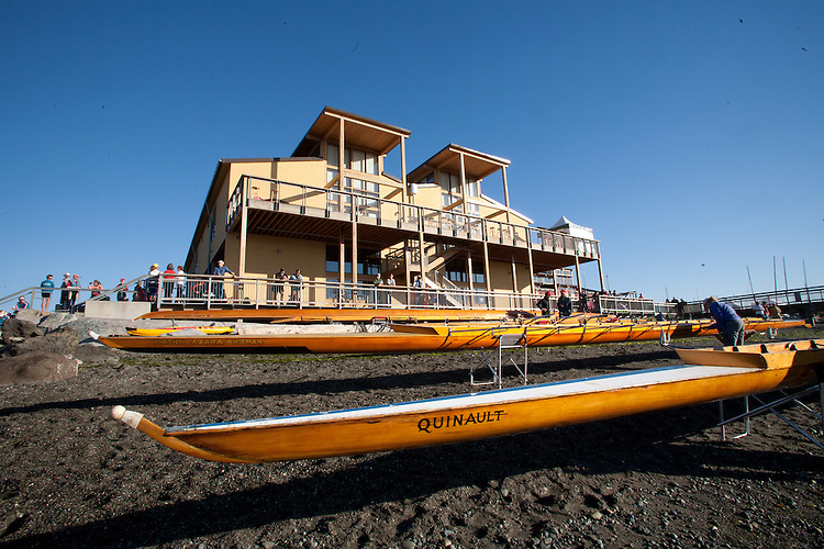 Port Townsend, Rat Island Rowing and Sculling Club, Northwest Maritime Center, boathouse, classic cedar racing shells, on the beach, 2014 Wooden Boat Festival, Olympic Peninsula, Washington State, Pacific Northwest, United States,