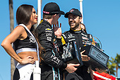2017 Verizon IndyCar Series<br /> Toyota Grand Prix of Long Beach<br /> Streets of Long Beach, CA USA<br /> Sunday 9 April 2017<br /> James Hinchcliffe and Josef Newgarden celebrate on the podium in victory lane<br /> World Copyright: Gavin Baker/LAT Images
