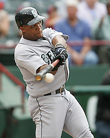 Seattle Mariners 3B Adrian Beltre hits against the Texas Rangers on May 14th, 2008 at Texas Rangers Ball Park. Photo by Andrew Woolley / Four Seam Images.